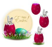 Element of design. Rabbit with Easter eggs. Egg shell. Set Royalty Free Stock Photo
