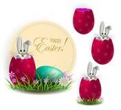 Element of design. Rabbit with Easter eggs. Egg shell. Set vector illustration