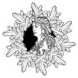 Element of Earth. Zodiac sign Virgo. BW sketch. Alchemy element of Earth. Zodiac sign Virgo. Beautiful woman in a diadem in a circular frame of quartz crystals Royalty Free Stock Photos