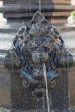 Element eines Brunnens in Form eines Löwe ` s Kopfes lizenzfreies stockbild