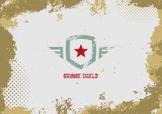 Element för Grunge skölddesign på grungebakgrund stock illustrationer