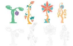 Element för kort, fantastiska trees vektor illustrationer