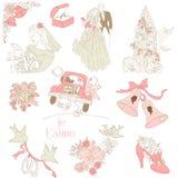 Element för tappningbröllopdesign stock illustrationer