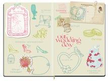 Element för vektorScrapbookdesign - bröllop vektor illustrationer