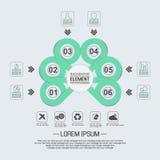 Element für geometrische Zahl Überschneidungskreise der infographic Diagrammschablone Lizenzfreie Stockbilder