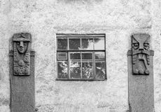 Element of Finnish culture on the facade. Of the residential houses on both sides of the window Royalty Free Stock Photos