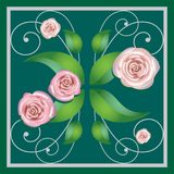 Element of a flower ornament, roses Royalty Free Stock Photo