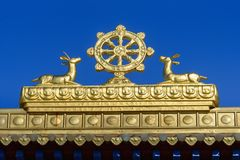 Element of Gate to Buddhist complex Golden Abode of Buddha Shakyamuni in spring. Elista. Russia. Element of Gate to Buddhist complex Golden Abode of Buddha stock images