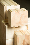 Element of glued timber construction. Fragment of a construction built of glued pine timber Stock Photo