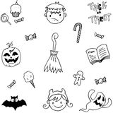 Element halloween in doodle vector Royalty Free Stock Images