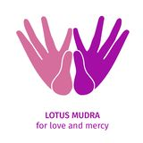 Element hand in yoga mudra lotus for love. Vector illustration for a yoga studio, spa, postcards, souvenirs. Colorful royalty free illustration