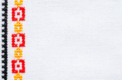 Element Handmade Embroidery By Cross Stitch. Background With Geometric Ornament. Element Handmade Embroidery on Linen by Red, Yellow and Black Cotton Threads Stock Photography