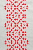 Element handmade embroidery by red and white cotton threads. Vintage texture design. Royalty Free Stock Images