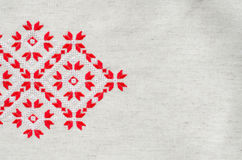 Element handmade embroidery by red and white cotton threads. Vintage texture design. Royalty Free Stock Photo