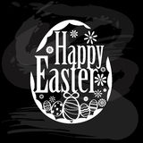 Element of happy Easter on blackboard Royalty Free Stock Photography