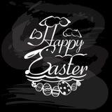 Element of happy Easter on blackboard Stock Photos