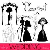 element illustrerat bröllop stock illustrationer