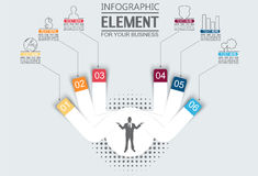 Element for infographic chart template geometric figure stikers number options. For web Royalty Free Stock Photo