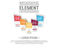 Element for infographic chart template geometric figure stikers number options. For web Stock Images