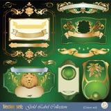element inramning guld märker prydnadbandet vektor illustrationer