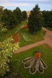 Element krajobrazowy projekt jest powikłanym kombinaci flowerbed w starym Rosyjskim ludu stylu, element folklor Obrazy Royalty Free