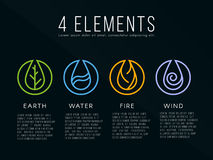 Element-Logozeichen der Natur 4 Wasser, Feuer, Erde, Luft Auf dunklem Hintergrund Lizenzfreie Stockfotos