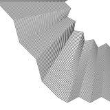 Element met kreuk, gevouwen lijnen Abstracte zwart-wit illustr royalty-vrije illustratie