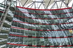 Element of modern architecture is exemplified by the Sony Center in Berlin, Germany. BERLIN, GERMANY - 21 SEPTEMBER, 2015. Element of modern architecture is Royalty Free Stock Images
