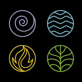 4 element. Nature 4 elements circle line logo sign. Water, Fire, Earth, Air. on dark background Stock Photography