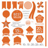 Element Orange Leather labels on summer set concept. Vector element design set of leather commercial labels and ribbon templates on summer concept tone. This Royalty Free Stock Photos