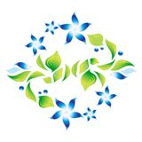 Element of an ornament with blue flowers 4 Stock Photography