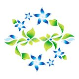 Element of an ornament with blue flowers 5 Stock Images