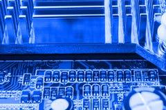 Element på chip av northbridge av makroen för datormoderkortslut arkivfoton