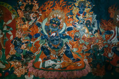 Element of paint wall in Thiksey Monastery with Dharmapala idol Royalty Free Stock Photography