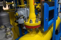 Element of pipeline. On oil and gas platform stock photos