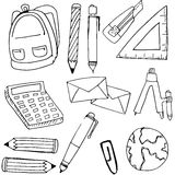 Element school hand draw in doodle Royalty Free Stock Photography