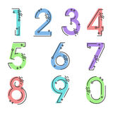 Element set of ten numbers form zero to nine, number design. Set of ten numbers form zero to nine with a lot of colors Royalty Free Stock Photography
