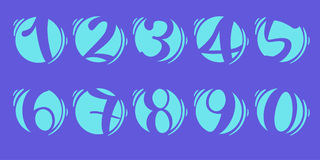Element set of ten numbers form zero to nine, number flat design. Set of ten numbers form zero to nine with blue colors Stock Image