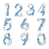 Element set of ten numbers form zero to nine, number flat design. Set of ten numbers form zero to nine with blue colors Stock Photography