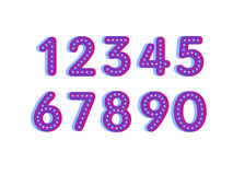 Element set of ten numbers form zero to nine, number flat design. Set of ten numbers form zero to nine with dots Stock Photo