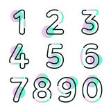 Element set of ten numbers form zero to nine, number flat design. Set of ten numbers form zero to nine with gradient colors Stock Image
