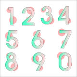Element set of ten numbers form zero to nine, number flat design. Set of ten numbers form zero to nine with gradient colors Royalty Free Stock Image