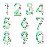 Element set of ten numbers form zero to nine, number flat design. Set of ten numbers form zero to nine with gradient colors Stock Photos