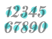Element set of ten numbers form zero to nine, number flat design. Set of ten numbers form zero to nine with green colors Stock Image
