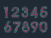 Element set of ten numbers form zero to nine, number flat design. Set of ten numbers form zero to nine with line colors Stock Photography