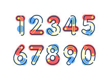 Element set of ten numbers form zero to nine, number flat design. Set of ten numbers form zero to nine with line colors Royalty Free Stock Images