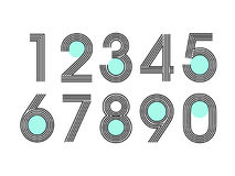 Element set of ten numbers form zero to nine, number flat design. Set of ten numbers form zero to nine with line and dot Royalty Free Stock Photo