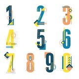 Element set of ten numbers form zero to nine, number flat design. Set of ten numbers form zero to nine with a lot of colors Royalty Free Stock Photography
