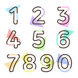 Element set of ten numbers form zero to nine, number flat design. Set of ten numbers form zero to nine with a lot of colors Stock Photos