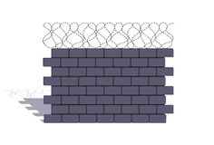 Element of a stone fencing with a barbed wire Stock Images
